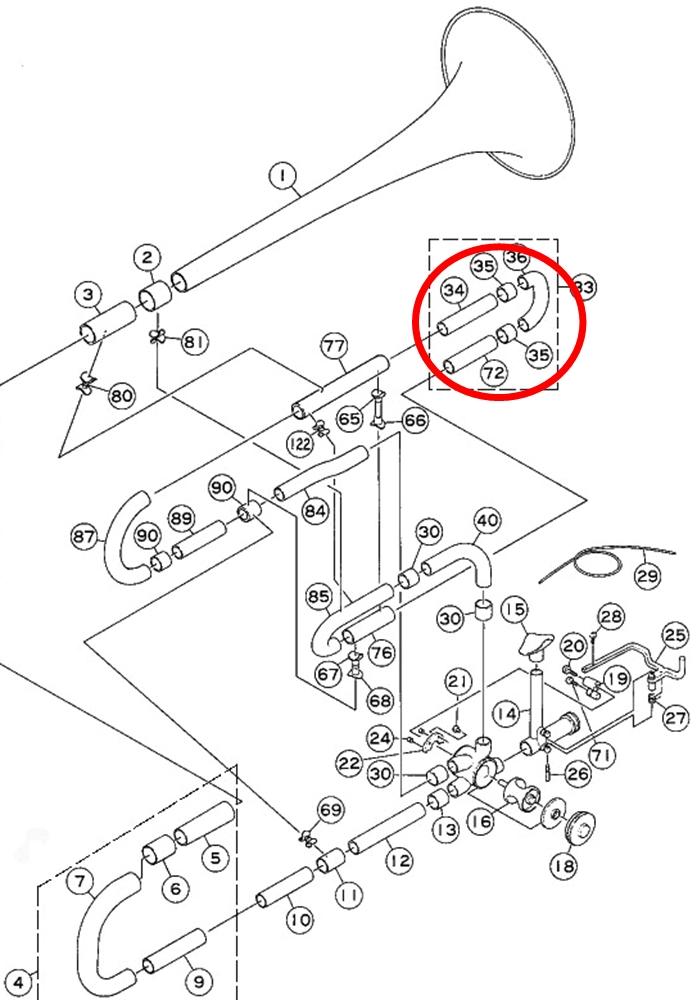 D4E30025 mouthpiece express yamaha trombone f tuning slide assembly gold